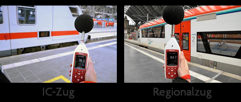 Schallpegelmessung Vergleich IC und Regionalzug