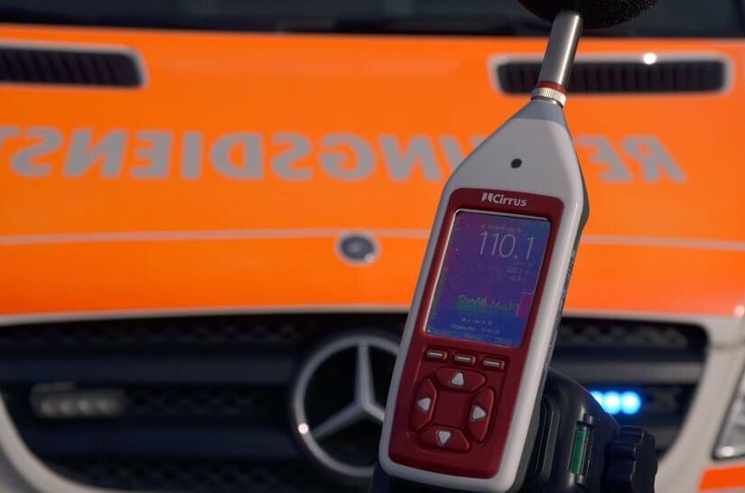 Schallpegel Sirene Krankenwagen 1,5 Meter